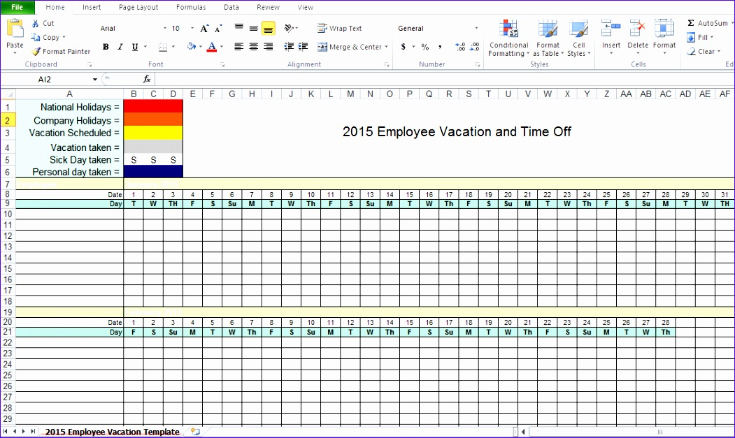 employee vacation tracking excel template 2015 1051627