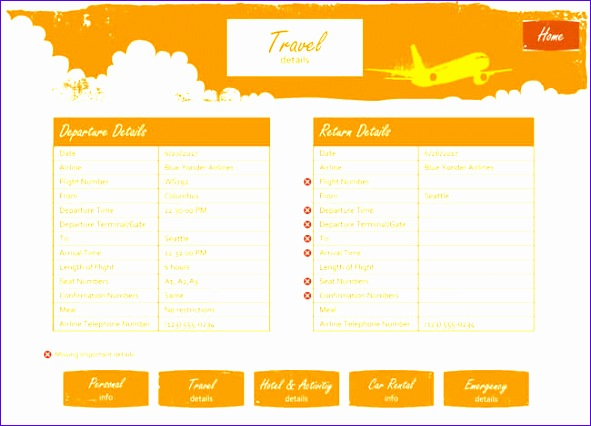 itinerary templates 591426