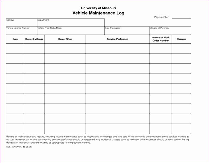 maintenance log template 698545
