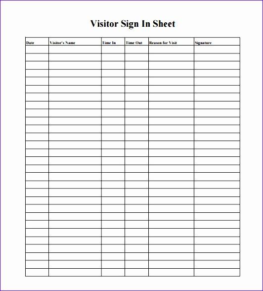 10 Visitor Log Template Excel