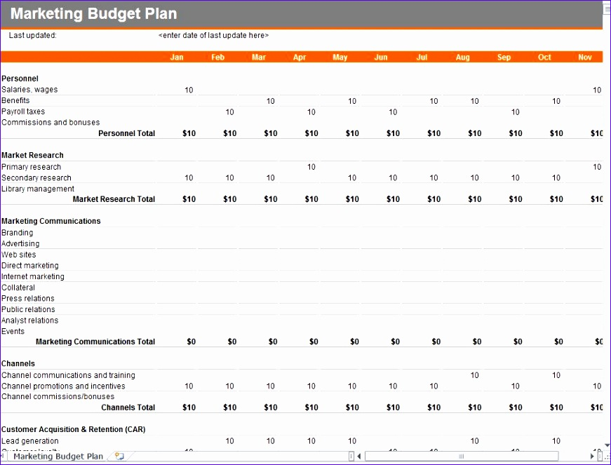 marketing and bud excel sheet templates 871663