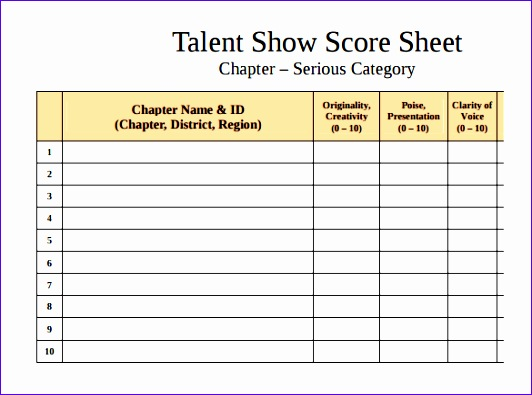 Wedding Checklist Template Excel Vdqkp New Sample Talent Show Score Sheet 9  Documents In Pdf 585430