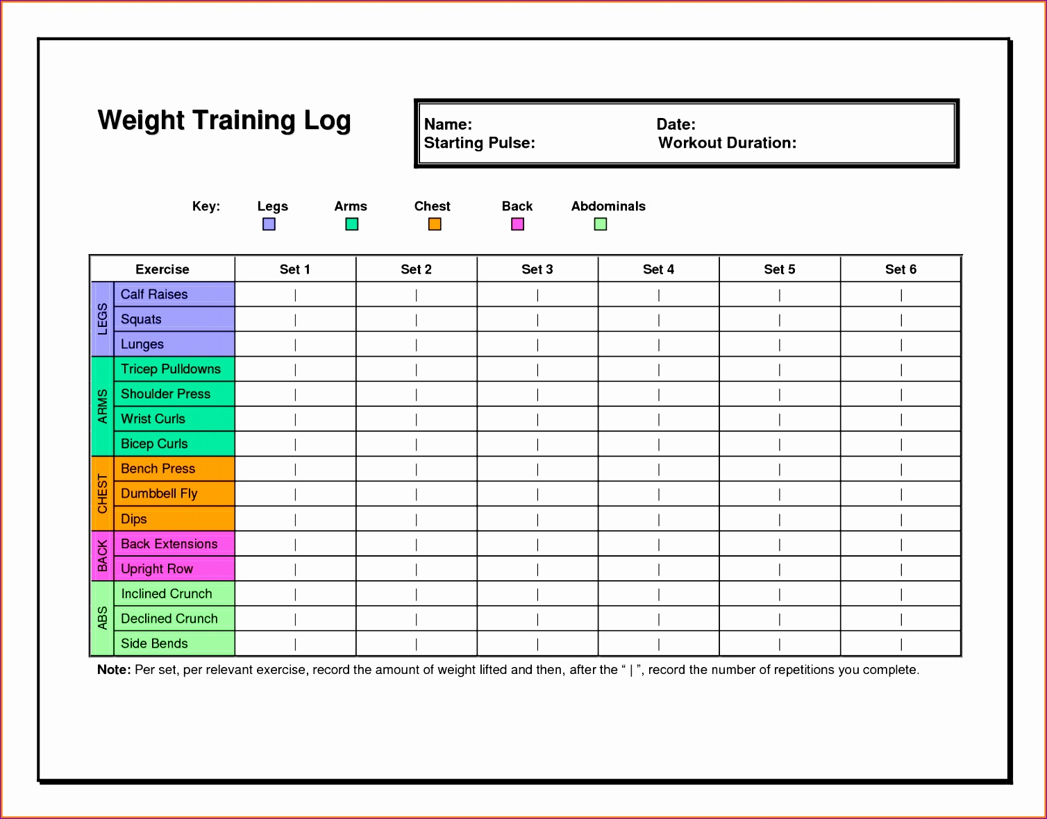 printable workout logs 15081180