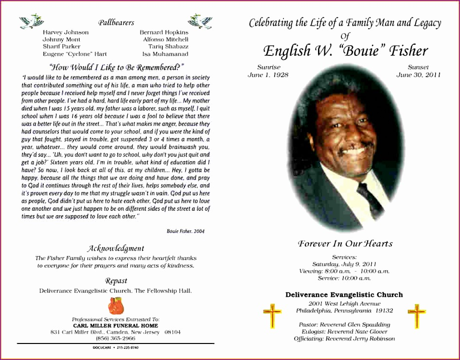 6 funeral program layout