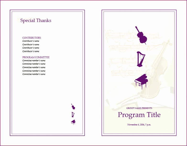 6 music program template 782611