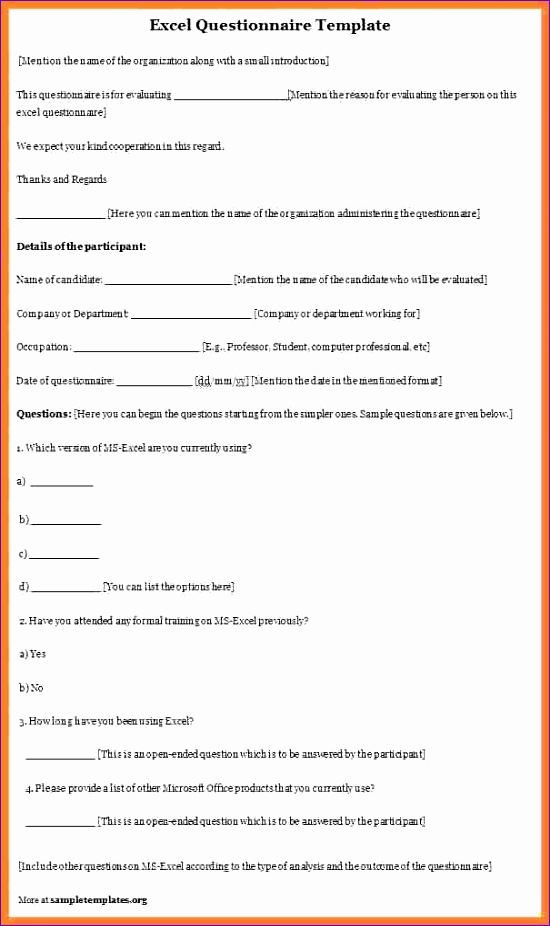 8 format of a questionnaire 550926