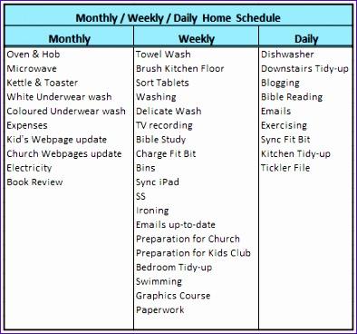 houseworkorganising schedule 2015