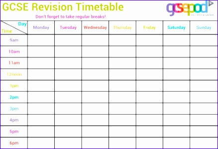 timetable templates