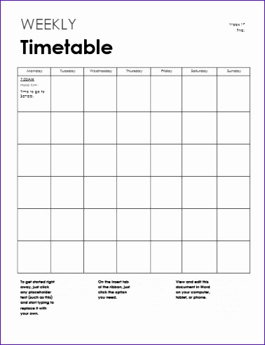 Weekly Schedule Excel Template  Exceltemplates  Exceltemplates