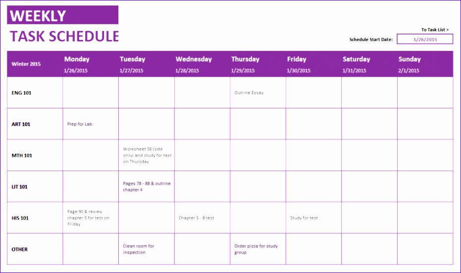 monthly task list template excel - 12 weekly schedule excel template exceltemplates