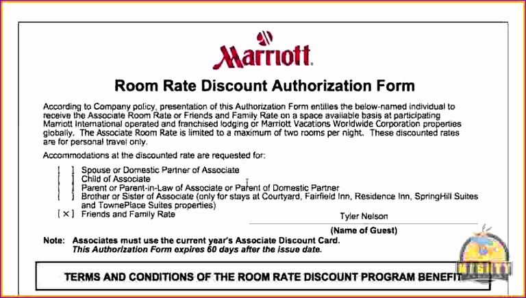 7 marriott room rate discount authorization form 768435