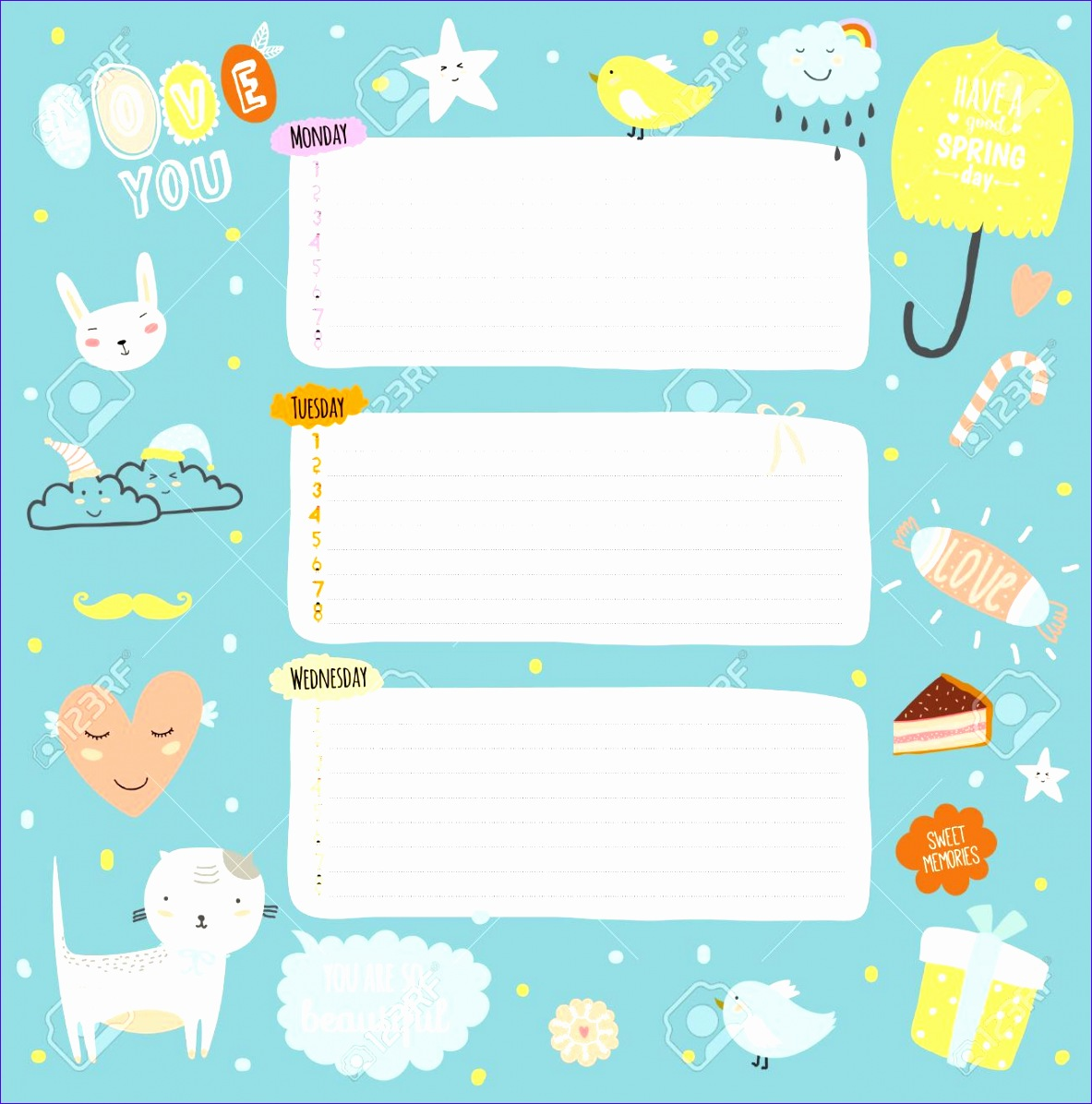 cute class schedule template 1314