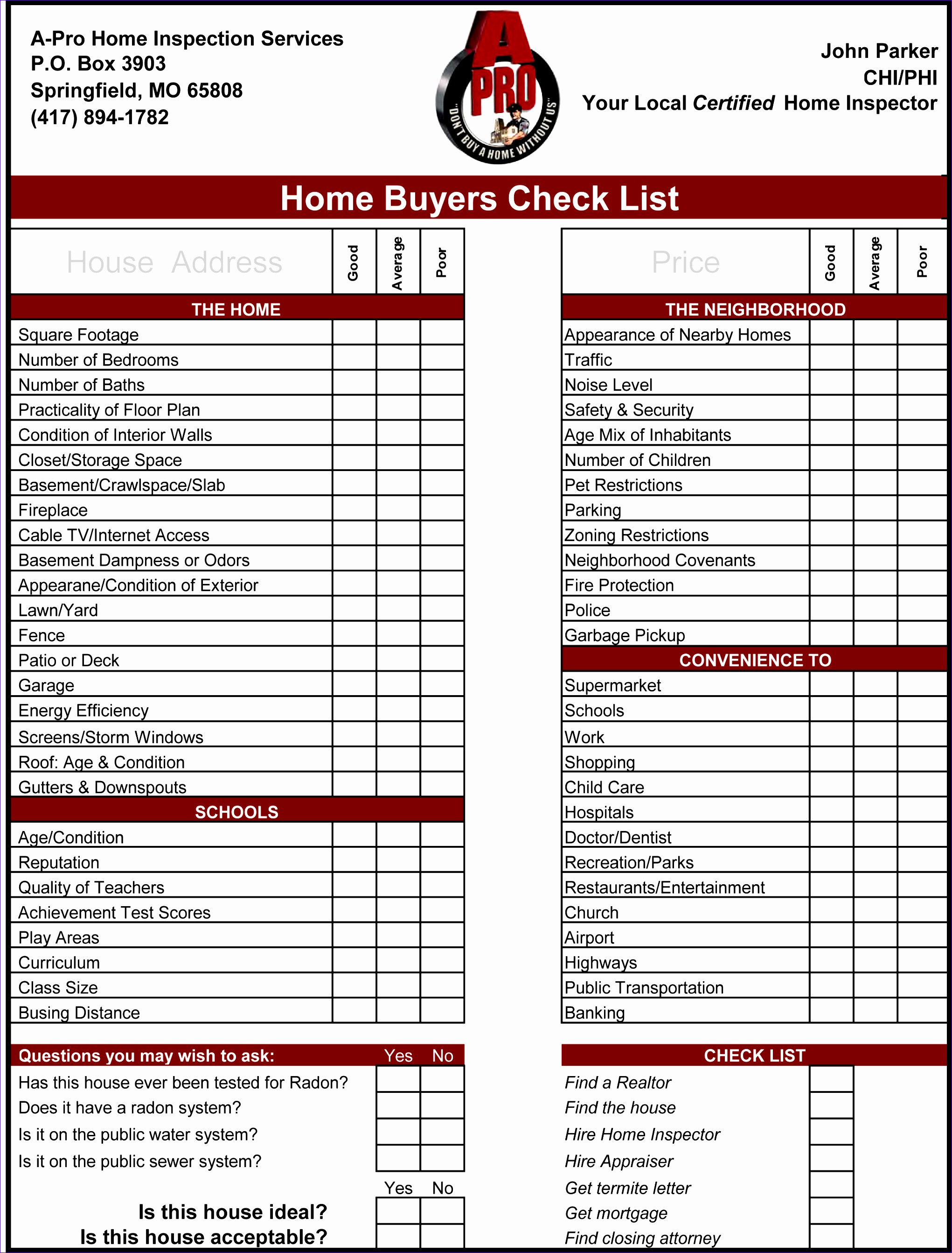 home inspection checklist 65 20412684