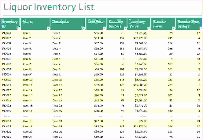 5 liquor inventory spreadsheet 1073744