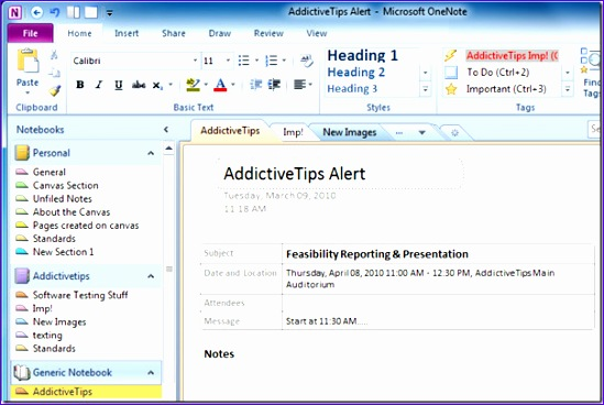 send outlook 2010 meeting details to onenote 2010 549368