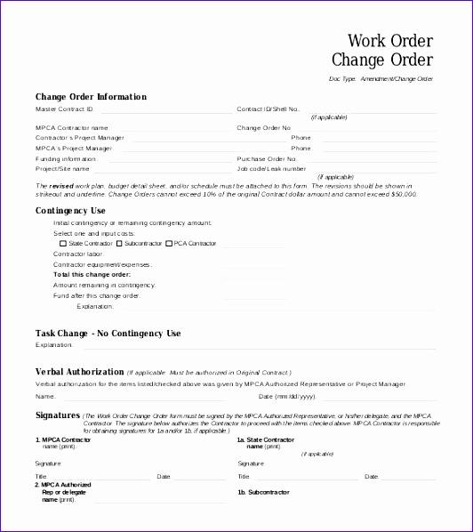 Work Request Template Excel Uyuna Fresh Change Order Template 23