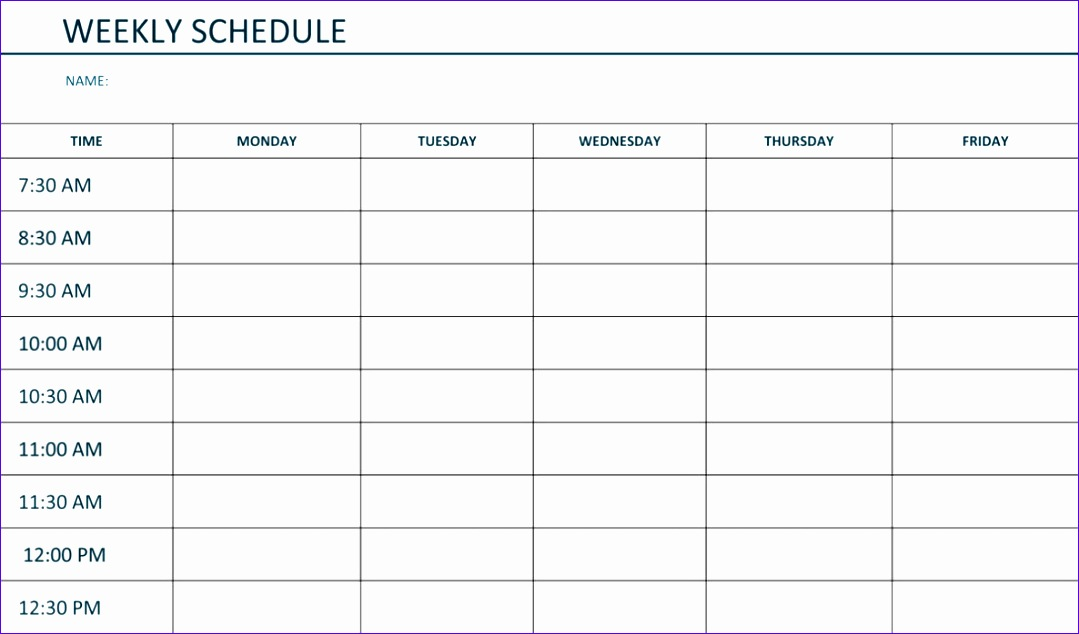 free printable weekly schedule template excel word