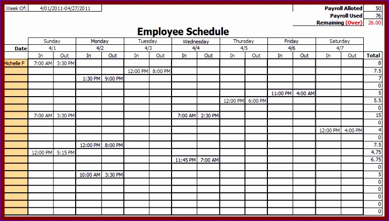 free weekly employee schedule template excel 771439