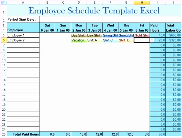 employee schedule template excel 595454