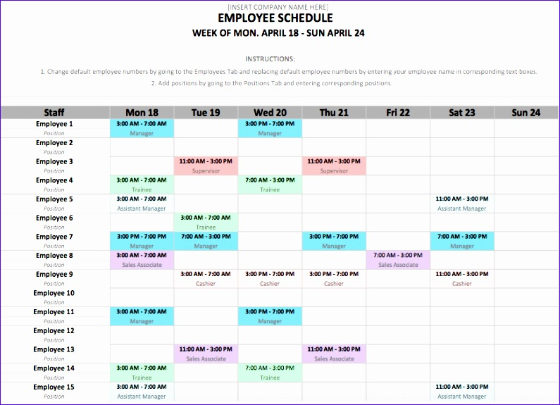 employee schedule template 795575