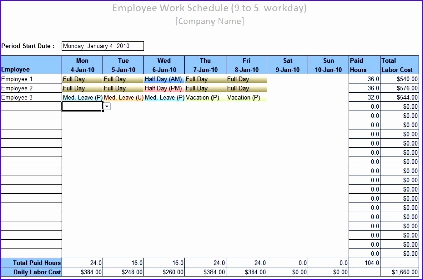 free employee monthly work schedule template 844559