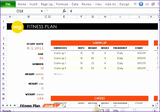 Workout Log Template Excel  Exceltemplates  Exceltemplates