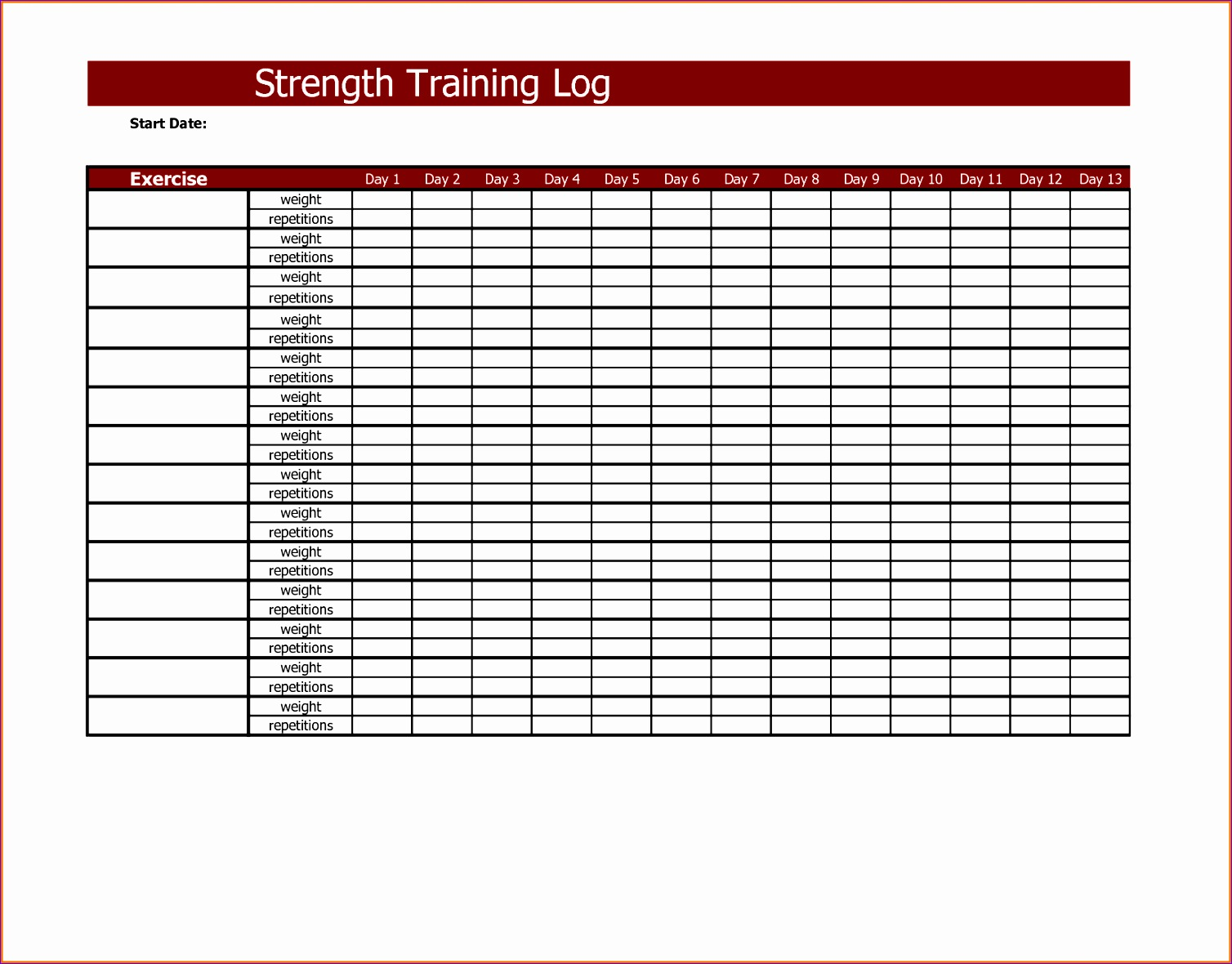 workout training log excel template 15081180