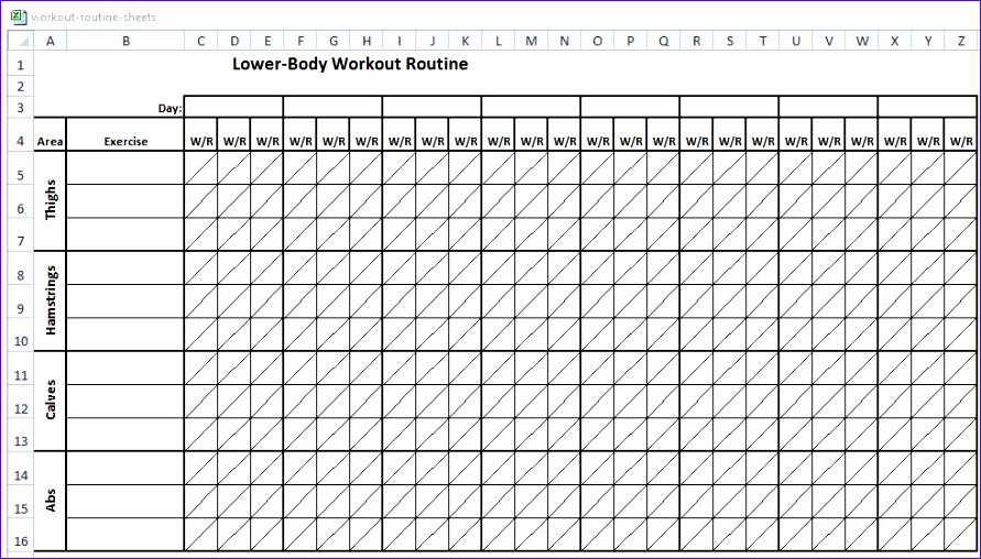 excel workout routine sheets