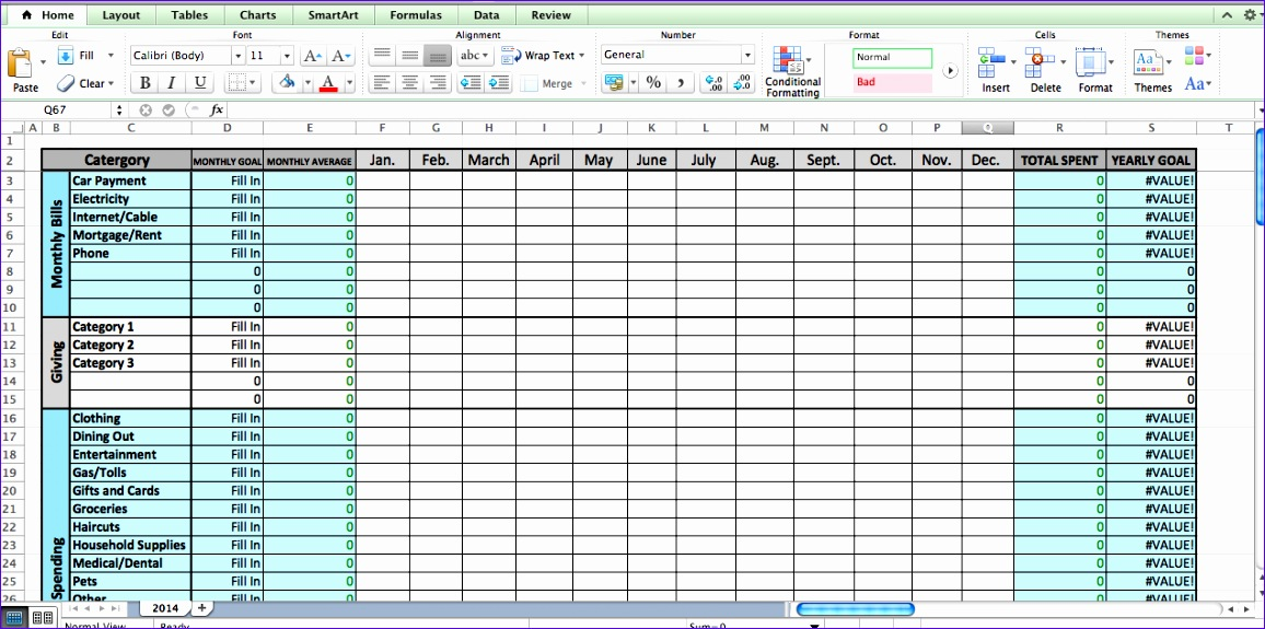 excel bud template 1156575