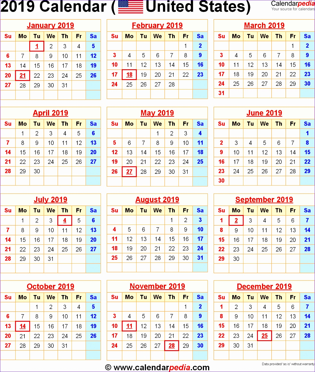 2019 calendar with holidays 2 1459 13141552