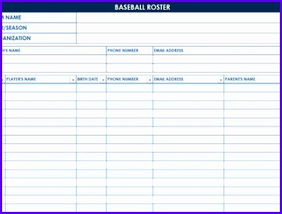 8 baseball lineup excel template exceltemplates for Baseball team roster template