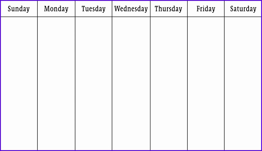 Blank Calendars Weekly Blank Calendar Templates 917530