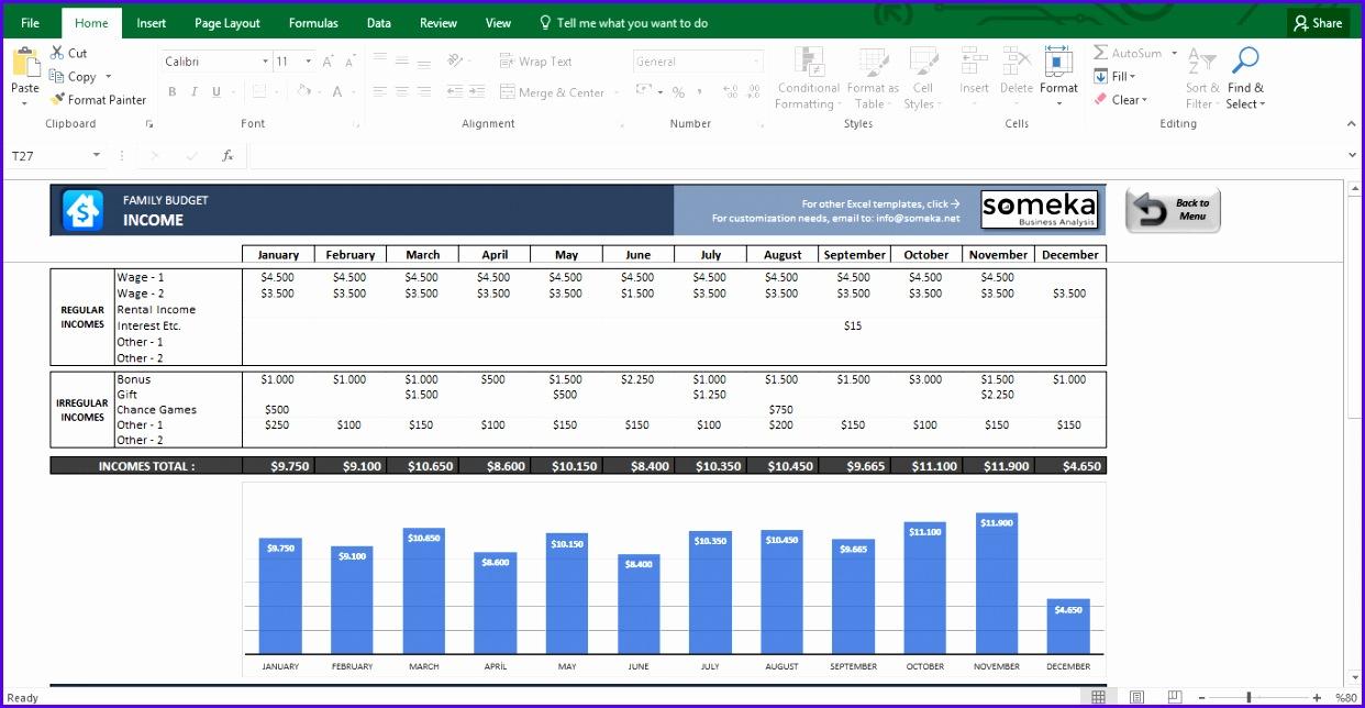 Family Bud Excel Bud Template for Household Template Screenshot Image 4 Someka