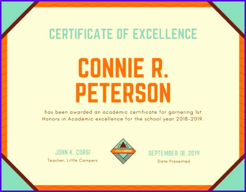 Orange Bordered Academic Certificate 500390