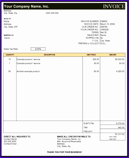 Subcontractor Invoice Template Excel 500612