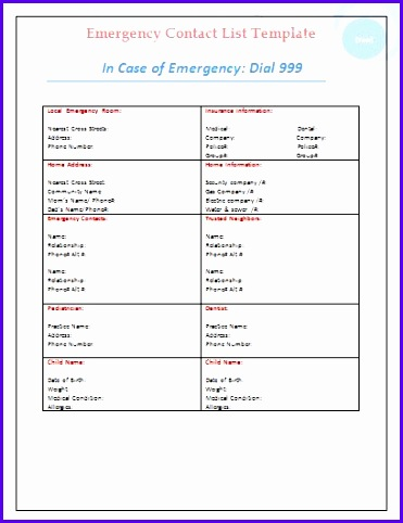 Emergency Contact List Template Business Pinterest