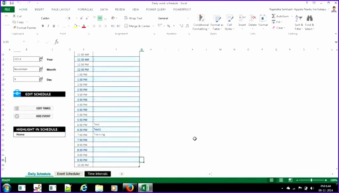 Excel Daily Work Schedule Template 1164662