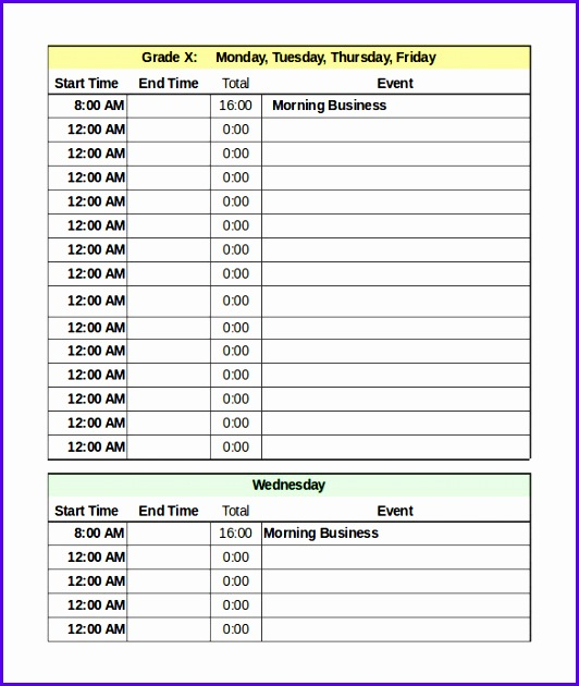 Daily Schedule Template in Excel Format 532630