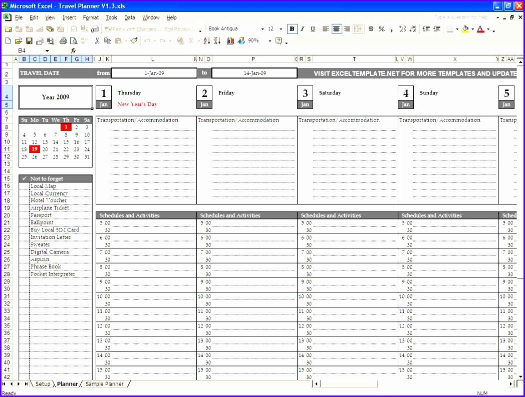 trip planner excel template 1048794