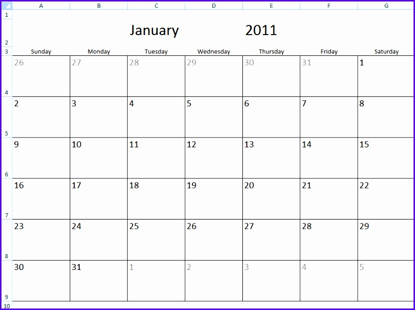Monthly Calendar Template Excel Monthly Calendar Template In Excel 839627