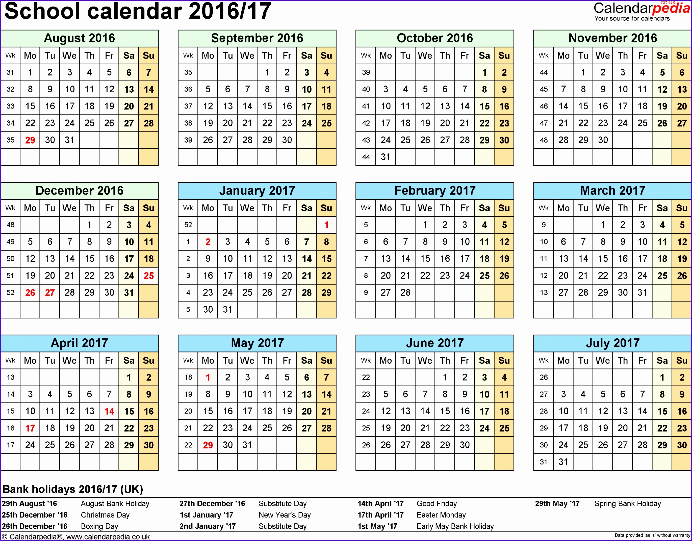 Template 4 School year calendars 2016 17 as Excel template year at a