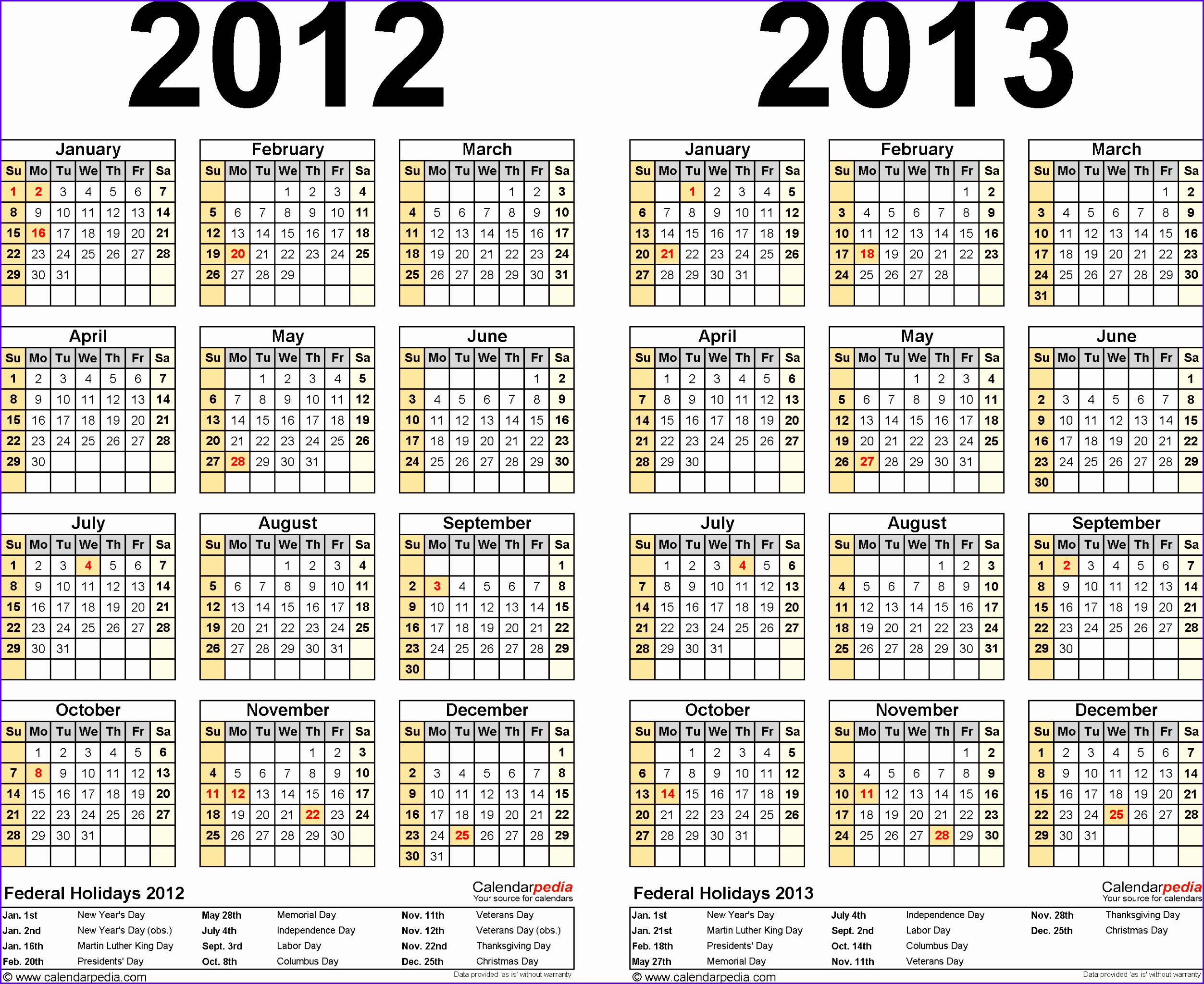 Template 2 Excel template for two year calendar 2012 2013 landscape orientation 25052048