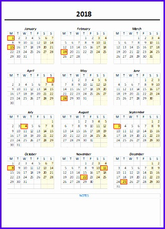 Yearly Excel Calendar 2017 & 2018 with Notes 329457