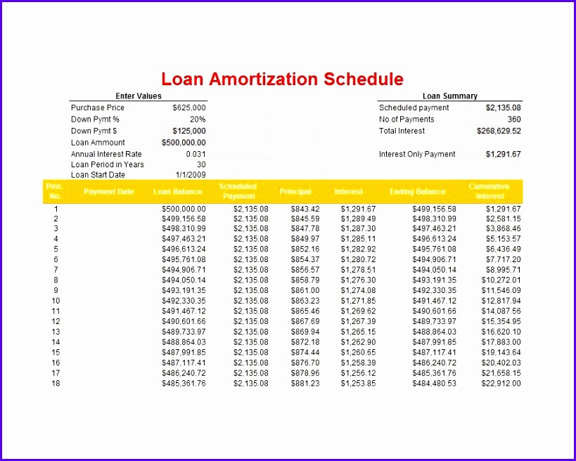 Amortization Schedule Excel 819656