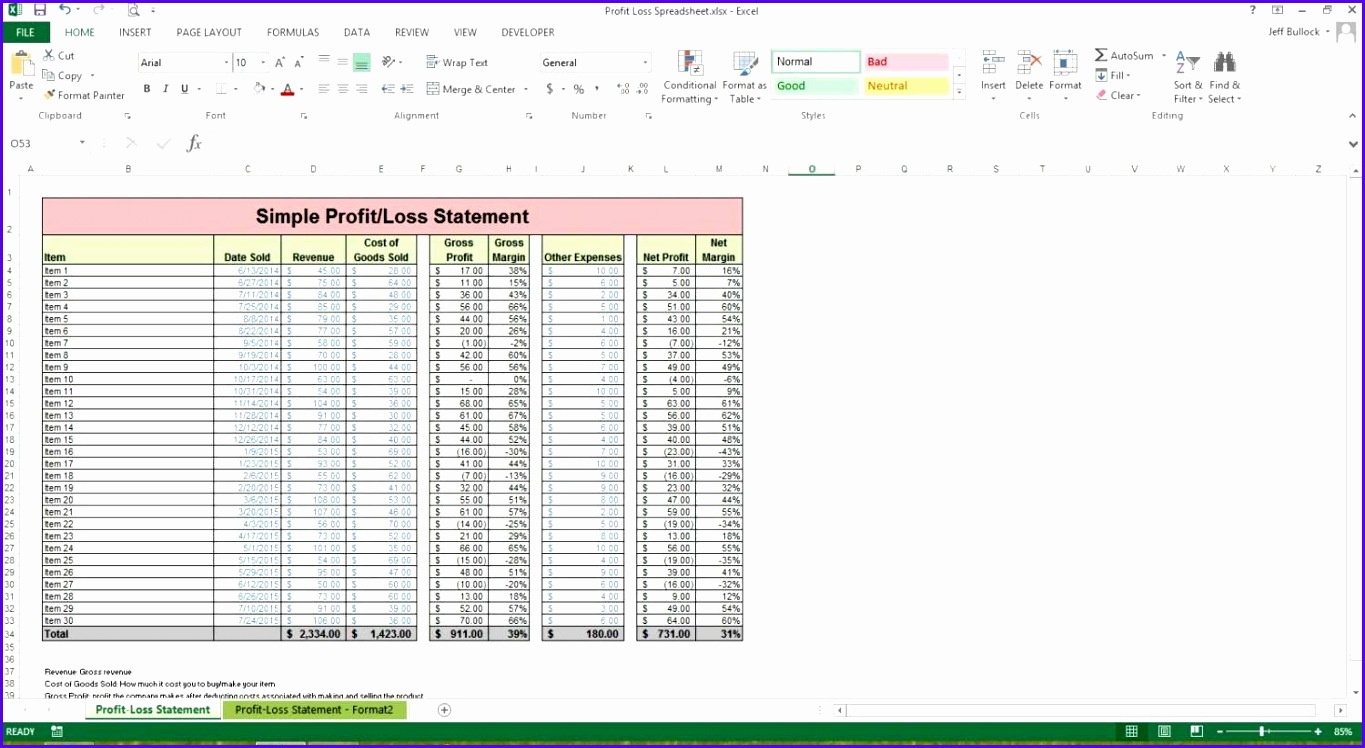 Balance Sheet Profit And Loss Statement Template Free Profit And Loss  Template Simple Profit And Loss  Profit And Loss And Balance Sheet Template