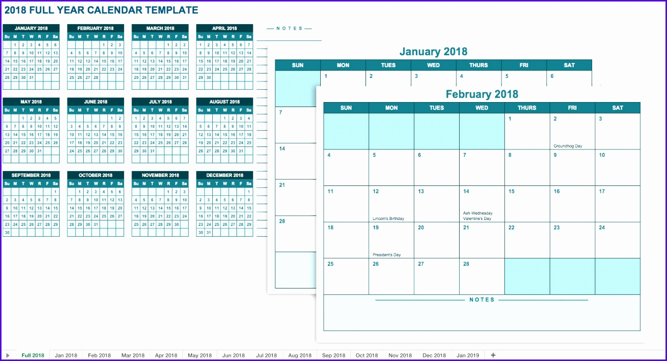 This free template includes 12 months in separate worksheets so you have access to a full calendar year with plenty of space for each month 1354732