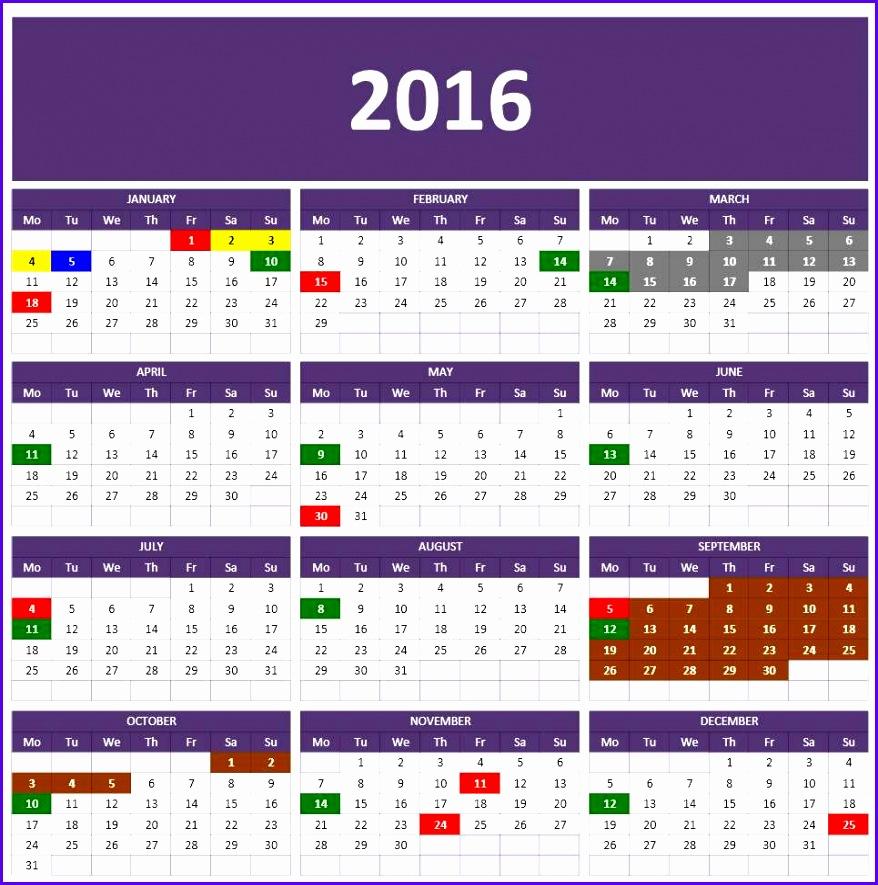 2016 Year Calendar Excel Template 878885