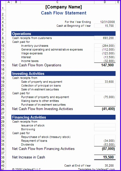 Cash Flow Statement Template 405575