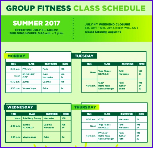 Group Fitness Class Schedule 532513