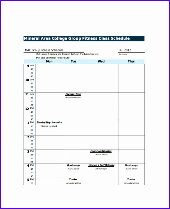 College Fitness Class Schedule Template in Excel